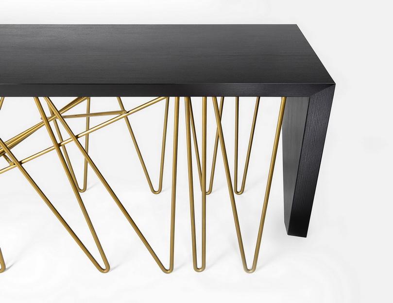 שולחן עבודה למטבח- דקטון שחור בשילוב רגליות נחושת
