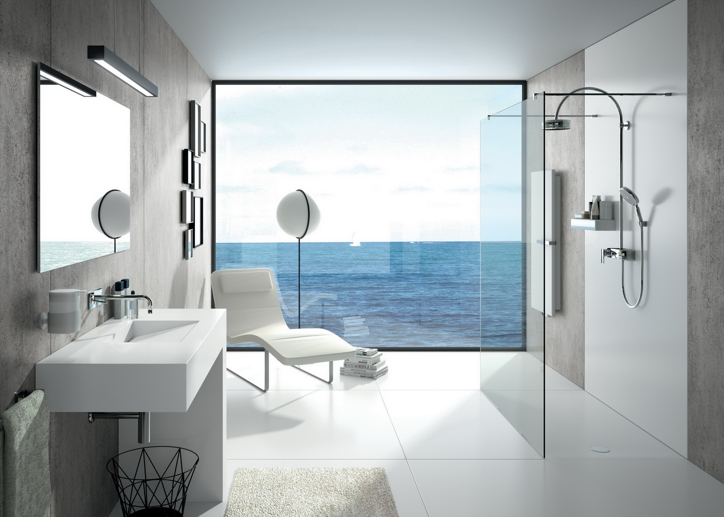 חדר אמבטיה עם משטח דקטון לבן לחיפוי- הוף לים